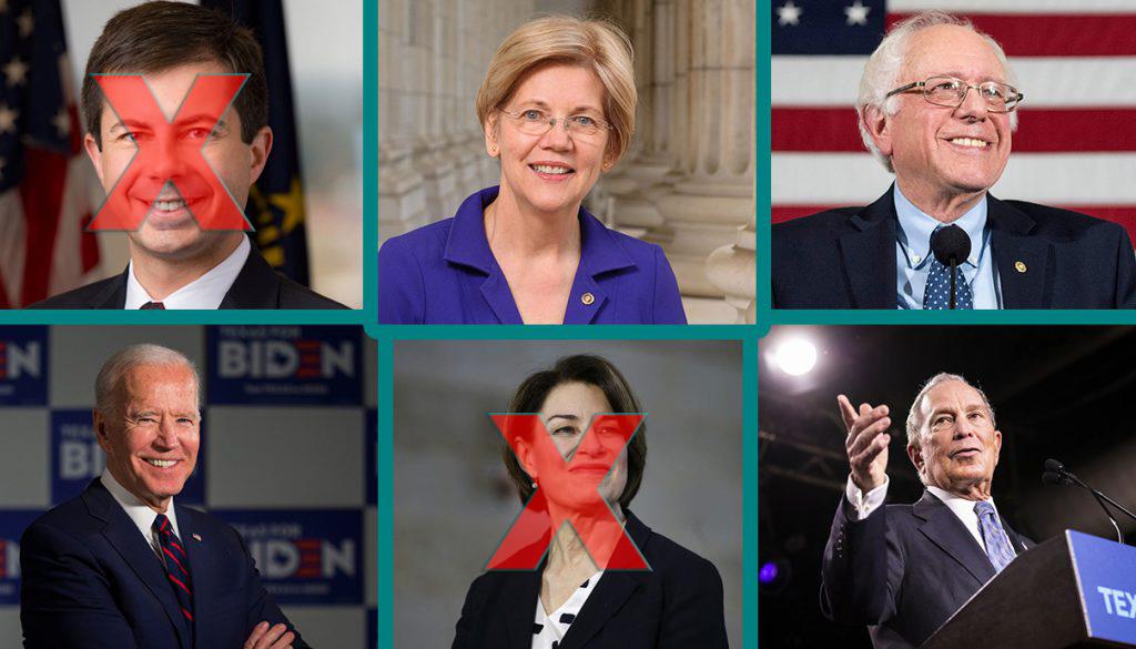 Bernie Sanders, Amy Klobuchar, Jose Biden, Pete Buttegieg, Mike Bloomberg,