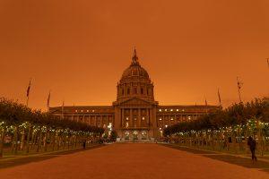 San Francisco, smoke, climate change, 2020, dystopia, apocalypse, SF City Hall