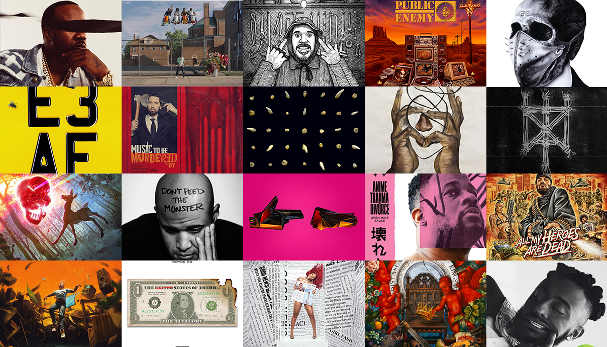 Megan Thee Stallion, Big Sean, Backxwash, Dizzee Rascal, Busta Rhymes, Aminé, Bambu, Nas, Public Enemy, R.A. the Rugged Man, Benny the Butcher, Eminem, Logic, Homeboy Sandman, Royce da 5'9″, Aesop Rock, clipping., Black Thought, Run the Jewels, Open Mike Eagle