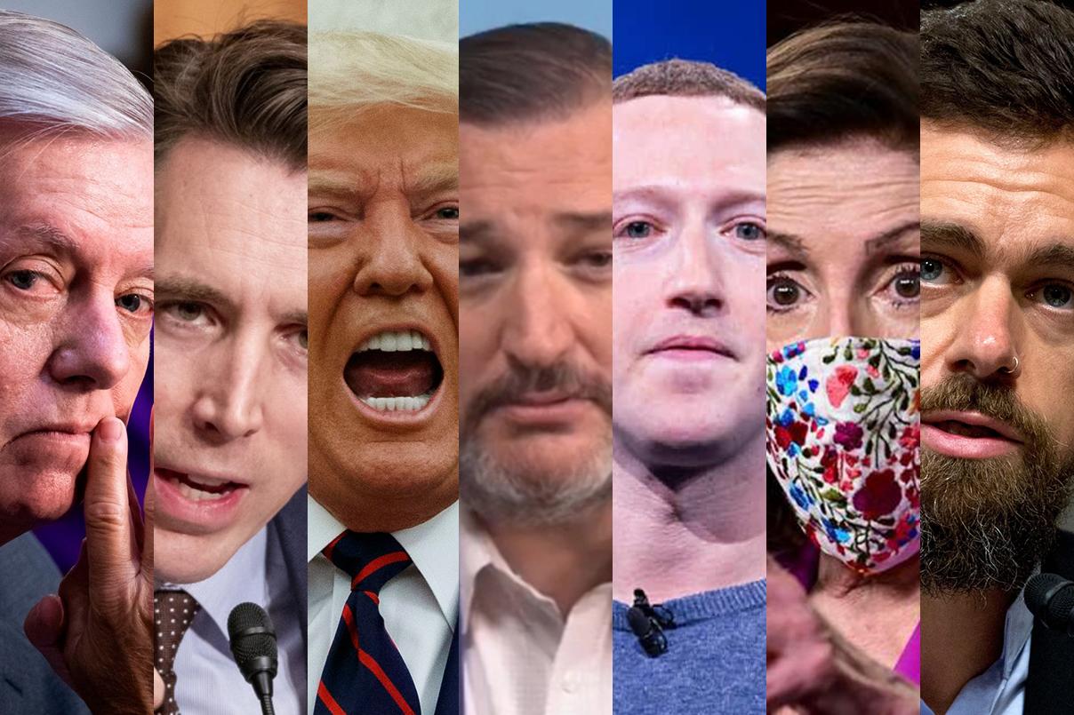 Lindsey Graham, Josh Hawley, Donald Trump, Ted Cruz, Facebook, Mark Zuckerberg, Nancy Pelosi, Twitter, Jack Dorsey